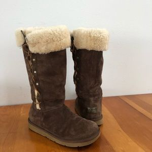 Ugg Australia Tall Lace up Side Brn Boots